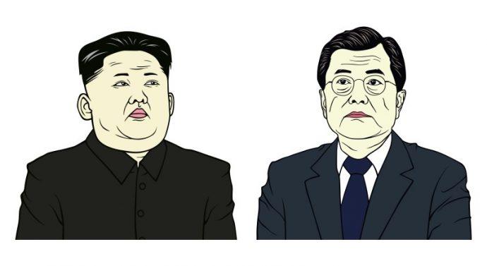 Poignée de main entre les chefs d'État des deux Corées